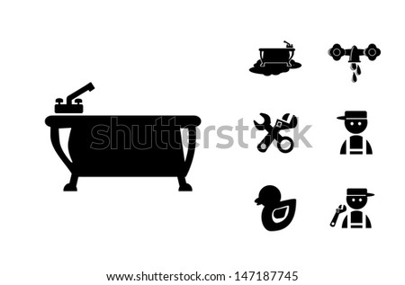 Black Bathroom Icons Set, eps vector illustration - stock vector