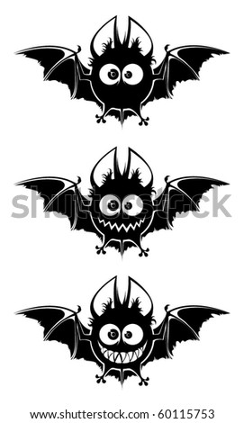 Black bats- round heads, big eyes, white teeth and wide wings. Black and white contours. Three simple objects on white background.