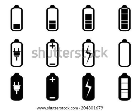black battery icons set - stock vector