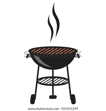 Black BBQ Grill Cooking with Smoke and Flame vector icon