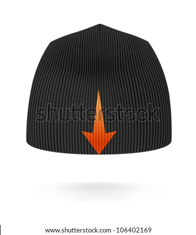 Black BEANIE, back view. Extremely detailed VECTOR illustration, created with love to details. - stock vector