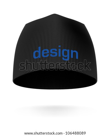 Black BEANIE, front view. Extremely detailed VECTOR illustration, created with love to details. - stock vector