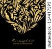 Black beautiful vintage swirl abstract gold card vector eps 8 for brochure, wallpaper, background, backdrop, banner, border, emblem, label, invitation, postcard greeting, wedding card, illustration - stock photo