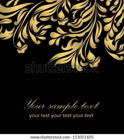Black beautiful vintage swirl abstract gold card vector eps 8 for brochure, wallpaper, background, backdrop, banner, border, emblem, label, invitation, postcard greeting, wedding card, illustration - stock vector