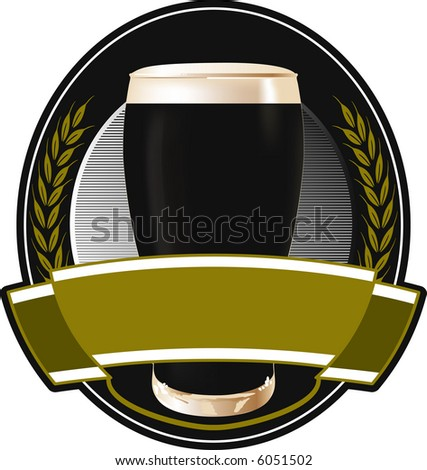 Black beer label - stock vector