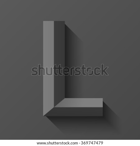 Black bevel font letter L, vector - stock vector