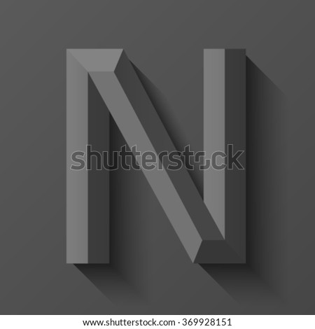 Black bevel font letter N, vector - stock vector