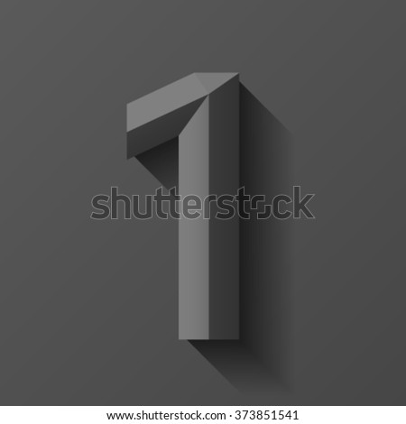 Black bevel font number 1, vector - stock vector