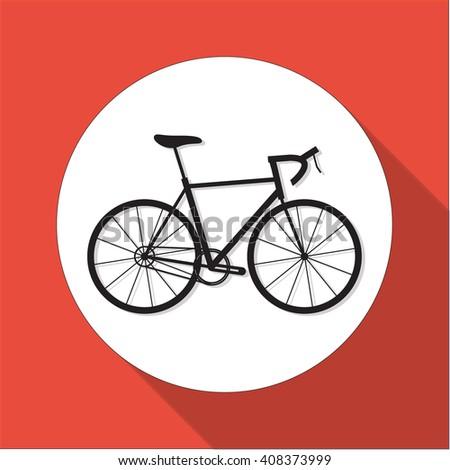 Black bicycle flat design icon. Web sign bike - stock vector