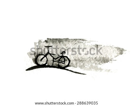 Black Bicycle, ink drawing, isolated vector logo illustration - stock vector