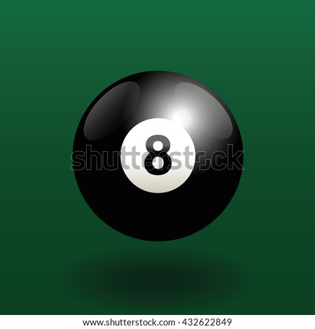 Black billiard ball number eight. Three-dimensional vector illustration on green gradient background.