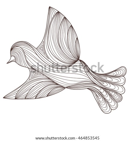 black bird isolated on white background. contour of the lines. zenart stylized. doodle outline