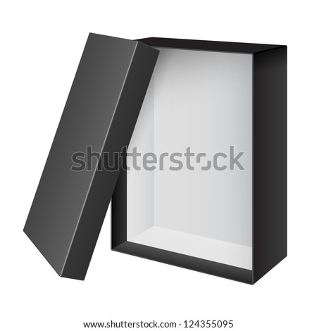 Black blank Cardboard Package Box Opened with the cover removed. For shoes, electronic device and other products. Vector illustration - stock vector