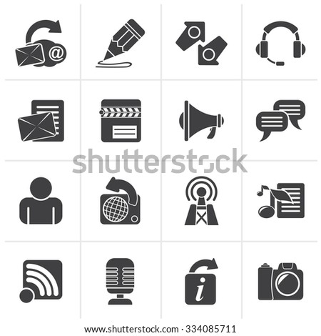 Black Blogging, communication and social network icons - vector icon set - stock vector