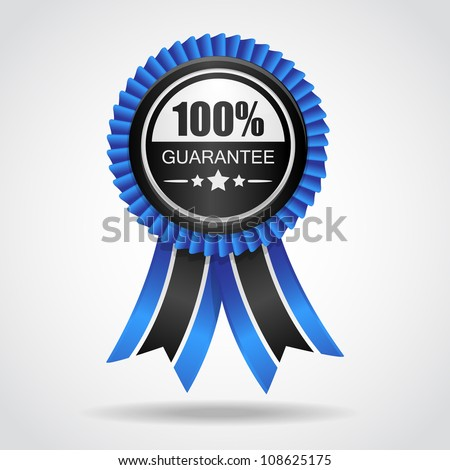 Black & blue label. 100% Guarantee - stock vector