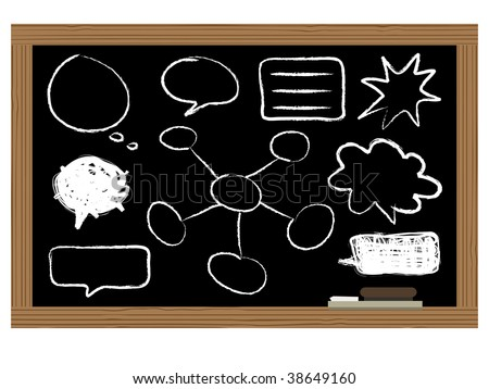 black board with chalk speech bubbles and diagrams - stock vector