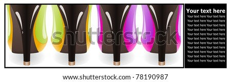 Black border framing the four fragments of women's shoes from the heel - stock vector