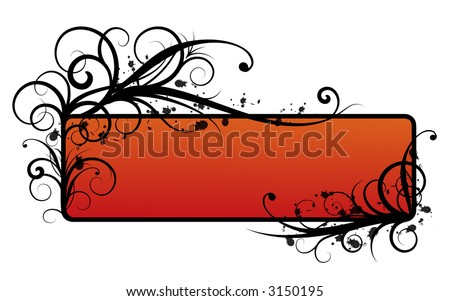 Black border  with red background - vector illustration
