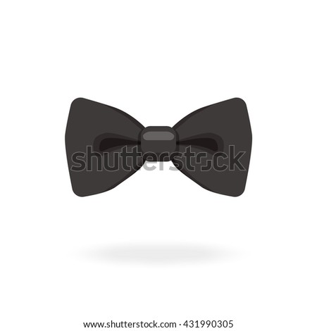 Black bow tie isolated on white background with shadow. Bow tie Icon. Vector illustration. - stock vector