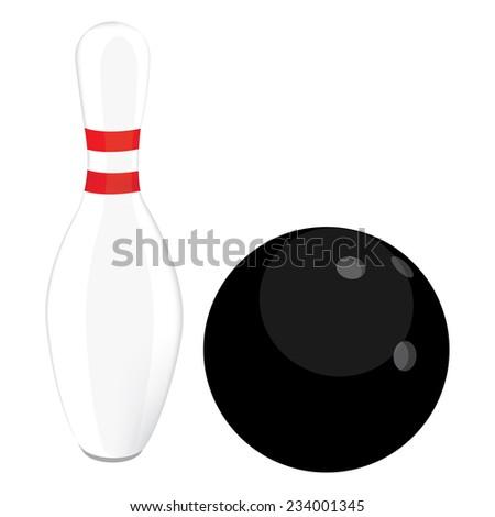 Black bowling ball and bowling pin vector - stock vector