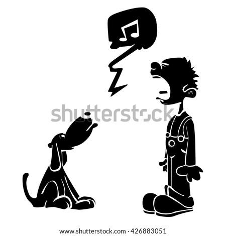dog singing stock vectors amp vector clip art shutterstock