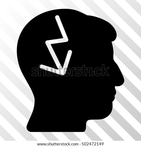 Black Brain Electric Strike toolbar icon. Vector pictogram style is a flat symbol on diagonal hatch transparent background.