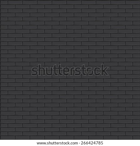 Black brick wall vector background. - stock vector
