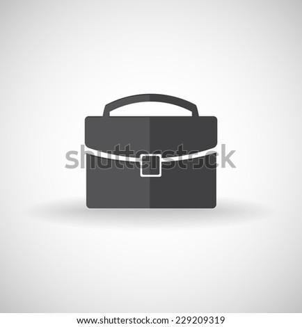Black briefcase icon - stock vector