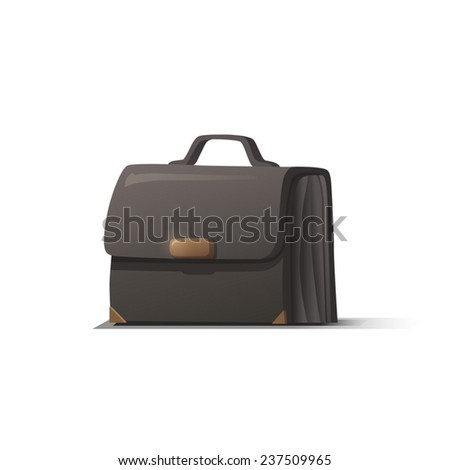 Black briefcase with shadow on white background  - stock vector