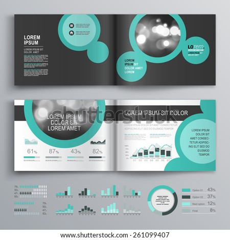 black brochure template design with round green elements cover layout and infographics