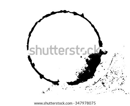 Black brush stroke in the form of a circle. Drawing created in ink sketch handmade technique. Isolated on white background, easy to use - stock vector