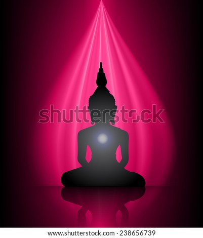Black Buddha silhouette against dark pink background  - stock vector