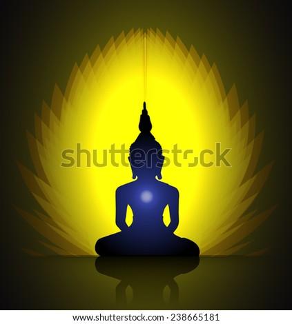 Black Buddha silhouette against Dark yellow background  - stock vector