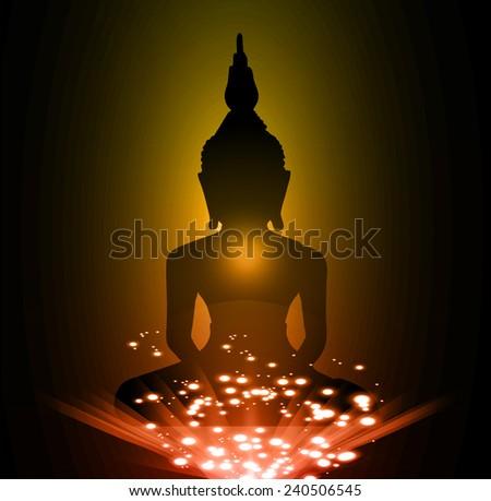 Black Buddha silhouette against Dark yellow orange background - stock vector