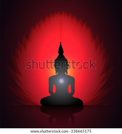 Black Buddha silhouette against red background  - stock vector