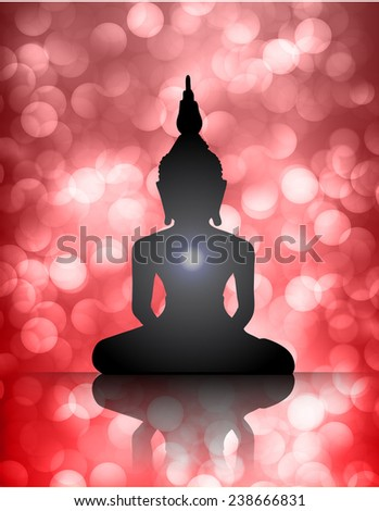 Black Buddha silhouette against red bokeh defocused lights abstract background  - stock vector