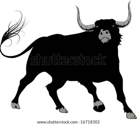 black bull - stock vector