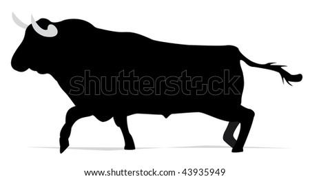 black bull in vector mode, spanish bullfight - stock vector