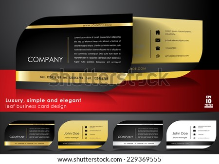 Black business card design - stock vector