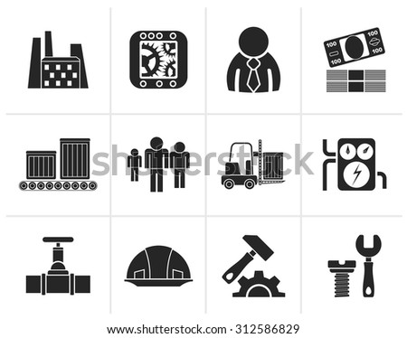 Black Business, factory and mill icons - vector icon set - stock vector
