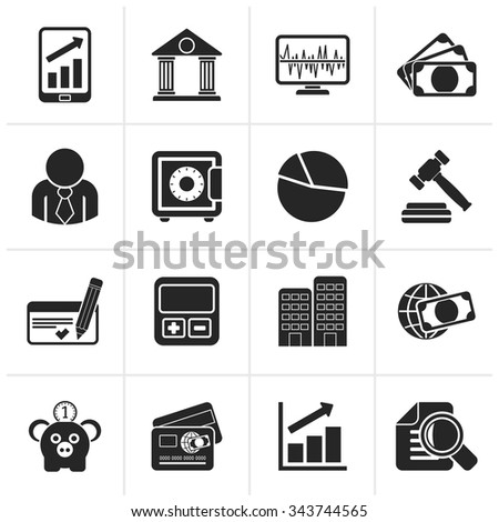 Black Business, finance and bank icons - vector icon set - stock vector