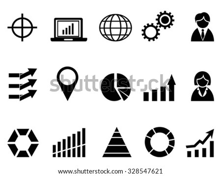 black business infographic icons set - stock vector