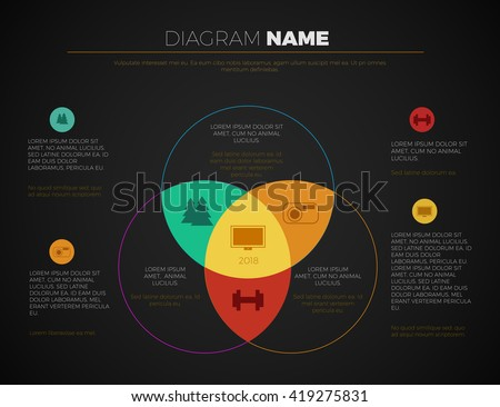 Black business presentation vector slide template with venn diagram. Editable vector slide templates modern dark design - stock vector