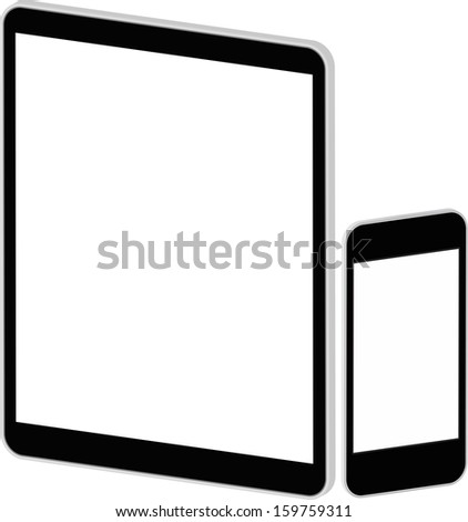 Black Business Tablet And Smart Phone Isolated On White In iPad And iPhone Style