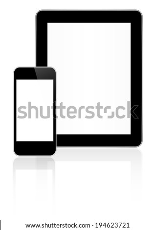 Black Business Tablet And Smart Phone Similar To iPad And iPhone With Reflection On White - stock vector