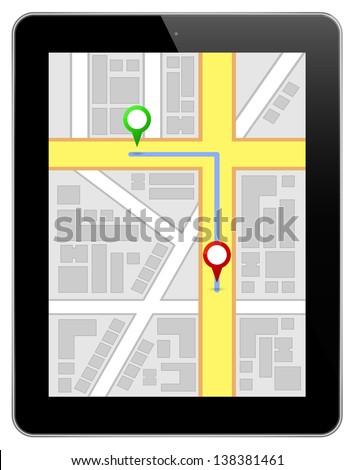 Black Business Tablet Ipad Similar With Gps Map