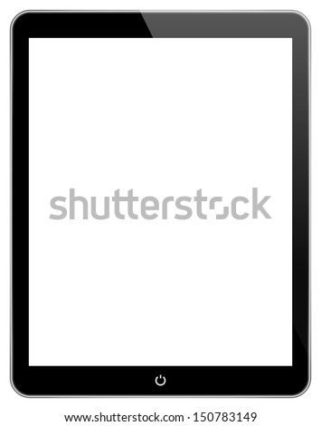 Black Business Tablet Similar To iPad Air With Power Button Isolated On White - stock vector