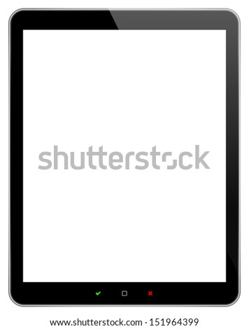 Black Business Tablet With Accept And Reject Buttons Similar To Samsung Tablets - stock vector