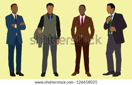 Black businessman in suits - stock vector