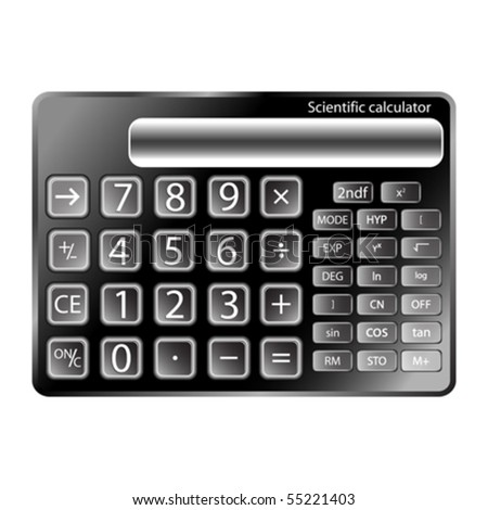 black calculator against white background, abstract vector art illustration - stock vector